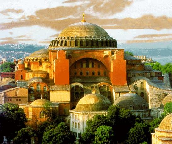 Santa Sofia idealizada, sin minaretes y con la cúpula restaurada