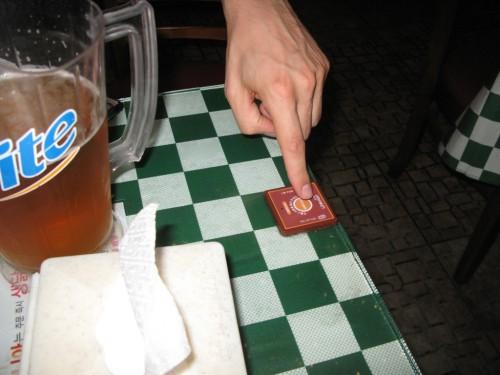 Pulsando el botón del restaurante coreano de Seul
