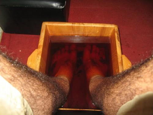 Antes del masaje de pies
