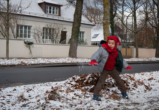 Jugando con la nieve en Múnich