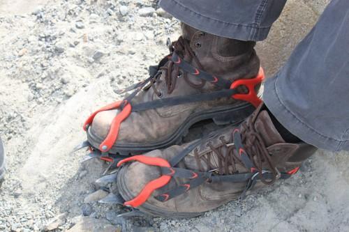Preparado para el ice trekking en el glaciar de Viedma