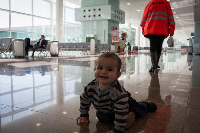 Nicolás a los 11 meses, de camino a Múnich