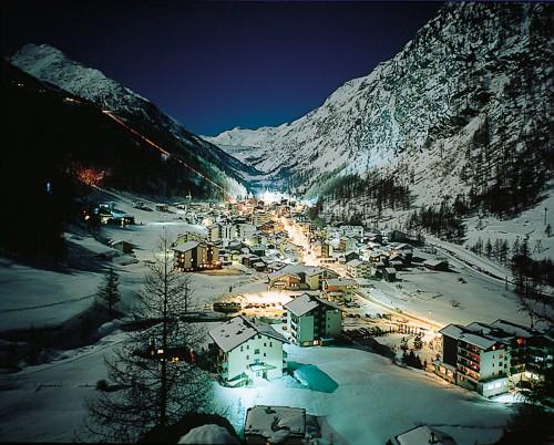 Estampa del pueblo de Saas-Fee, Suiza