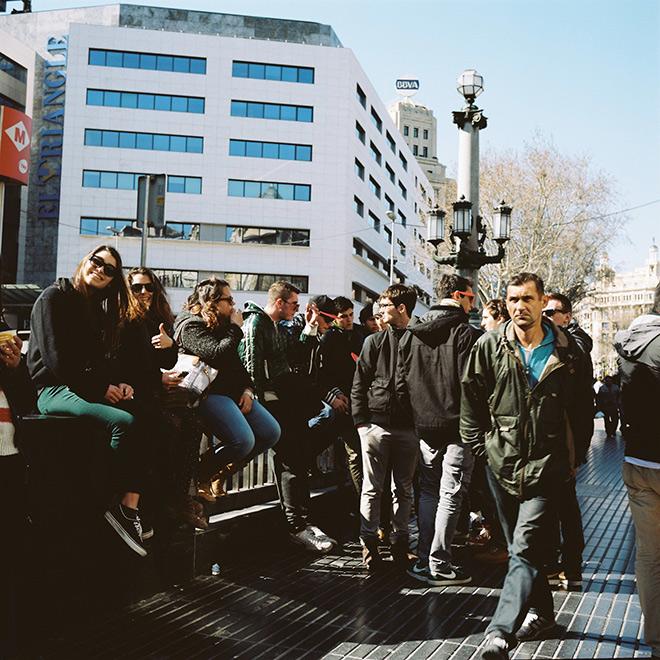 Comienzo de la Rambla en Barcelona