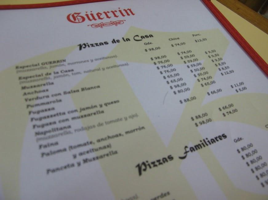 Carta de la pizzería Güerrin de Buenos Aires