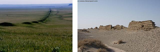 A la izda., muralla de la dinastía Jin (265 - 420 d. C.). A la dcha. restos de muralla de la dinastía Han (206 a. C. - 220 d. C.)