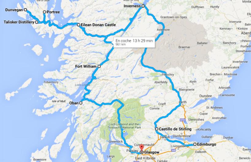 Nuestra ruta por Escocia en coche