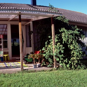 Uno de los porches de nuestra casa en Småland