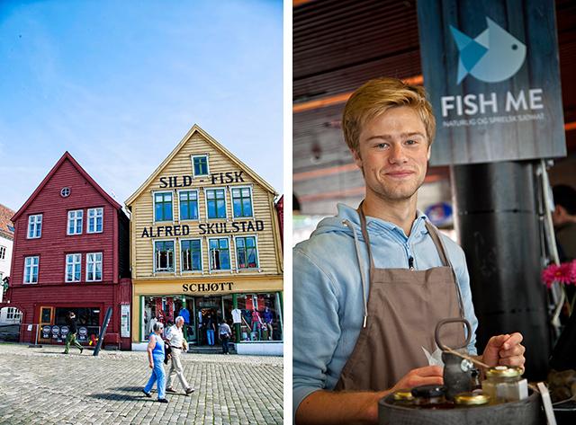 El Bryggen soleado (izda.), mercado de pescado de Bergen (dcha.)