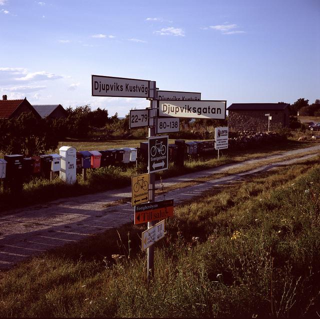 Uno de los pocos cruces de caminos que nos encontraremos en la isla de Öland