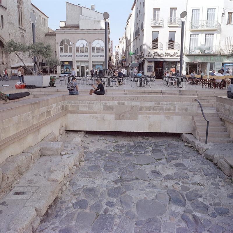 Vía Domitia en su paso por el centro de Narbona